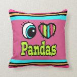 Pandas brillantes del amor del corazón I del ojo Almohadas