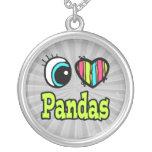 Pandas brillantes del amor del corazón I del ojo Collar Personalizado