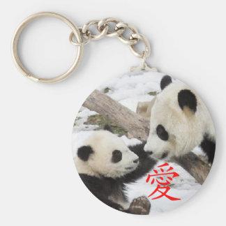 Pandas chinas del amor llavero redondo tipo pin