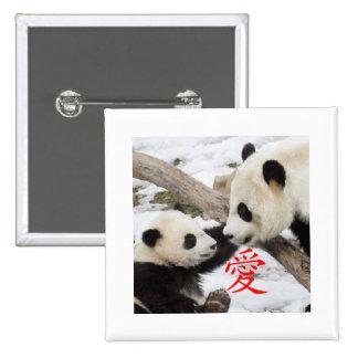 Pandas chinas del amor pin cuadrado