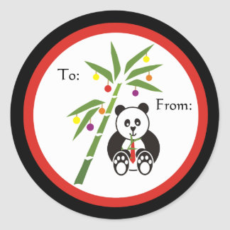 Panda's Christmas Meal! Classic Round Sticker