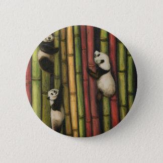 Pandas Climbing Bamboo Button