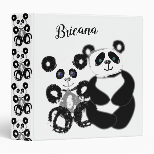 pandas cute and cuddly personalized 3 ring binder