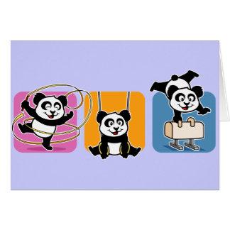 Pandas de la gimnasia tarjeta de felicitación