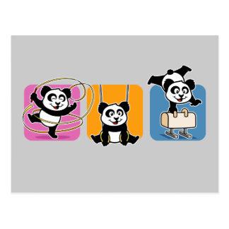 Pandas de la gimnasia tarjeta postal