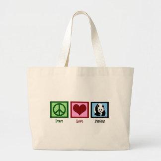 Pandas del amor de la paz bolsa tela grande