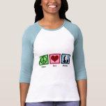 Pandas del amor de la paz camisetas