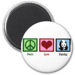Pandas del amor de la paz imanes para frigoríficos