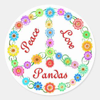 Pandas del amor de la paz pegatina redonda