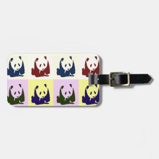 Pandas del bebé del arte pop etiqueta para maleta