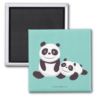 Pandas del bebé imán cuadrado