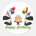 Pandas del cumpleaños etiquetas redondas