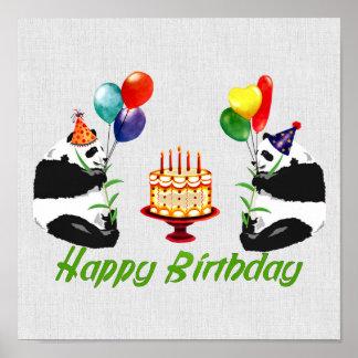 Pandas del cumpleaños póster