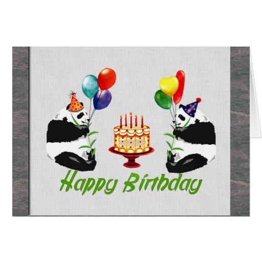Pandas del cumpleaños tarjeta de felicitación