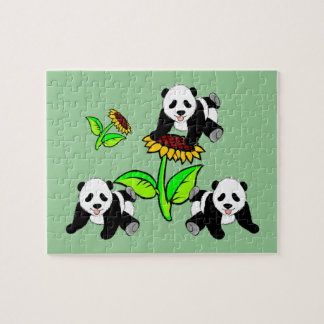 Pandas del girasol rompecabezas
