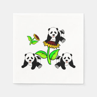 Pandas del girasol servilletas desechables