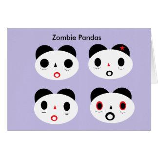 Pandas del zombi tarjeta de felicitación