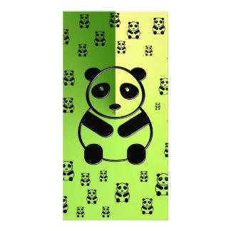 Pandas en fondo verde tarjetas personales con fotos