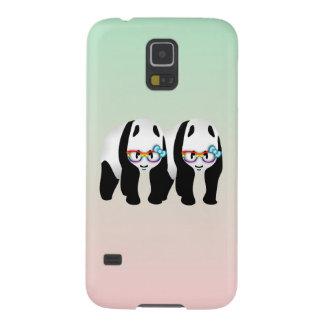 Pandas gay lindas que llevan Glassess Funda De Galaxy S5