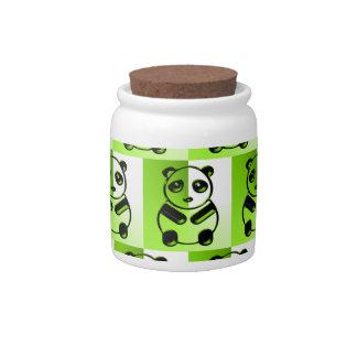 Pandas green pattern candy dish