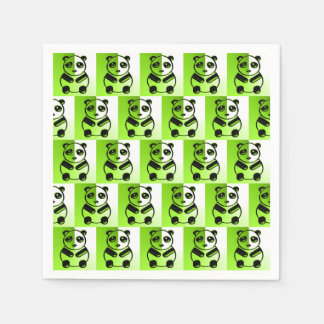 Pandas green pattern standard cocktail napkin