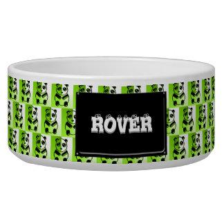 Pandas green pattern dog bowl