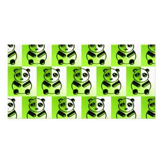 Pandas green pattern photo card template