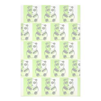 Pandas green pattern stationery