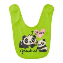 Pandas I Love Grandma Bib