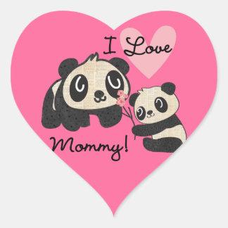 Pandas I Love Mommy Heart Sticker