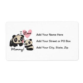 Pandas I Love Mommy Label