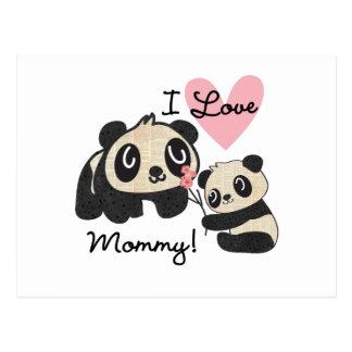 Pandas I Love Mommy Postcard