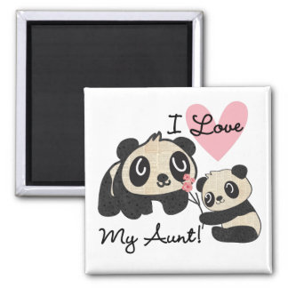 Pandas I Love My Aunt 2 Inch Square Magnet