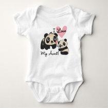 Pandas I Love My Aunt Baby Bodysuit