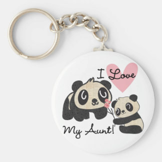 Pandas I Love My Aunt Basic Round Button Keychain