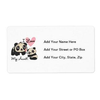 Pandas I Love My Aunt Label