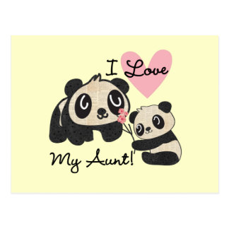 Pandas I Love My Aunt Postcard