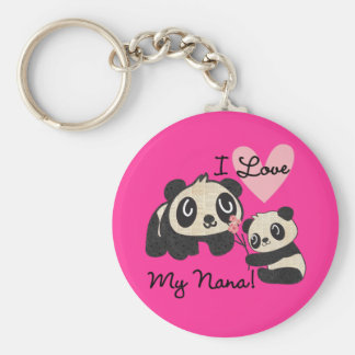 Pandas I Love My Nana Keychain