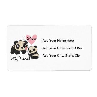 Pandas I Love My Nana Label