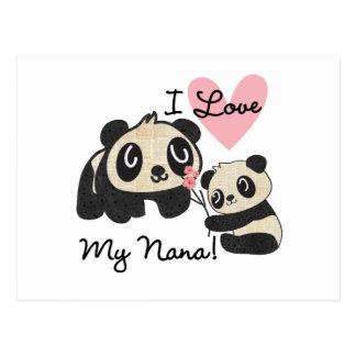 Pandas I Love My Nana Postcard