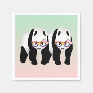 Pandas lesbianas del orgullo servilletas desechables