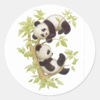 Pandas lindas etiquetas redondas