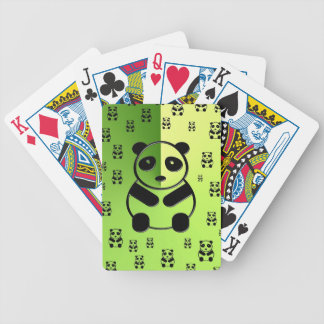 Pandas on forest green background bicycle playing cards