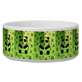 Pandas on forest green background bowl