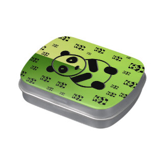 Pandas on forest green background candy tins