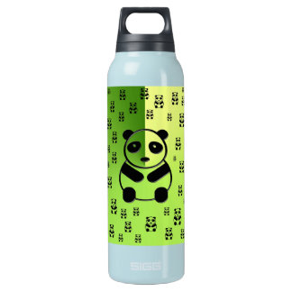 Pandas on forest green background insulated water bottle