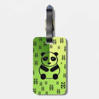 Pandas on forest green background tags for bags