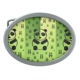 Pandas on forest green background oval belt buckle