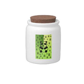 Pandas on green background candy jars