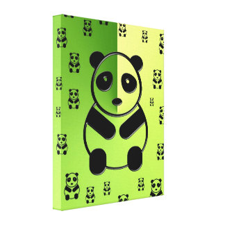Pandas on green background canvas print